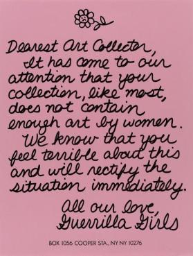 Dearest Art Collector from the portfolio Guerrilla Girls' Most Wanted: 1985–2008