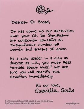 Dearest Eli Broad from the portfolio: Guerrilla Girls' Most Wanted: 1985–2008