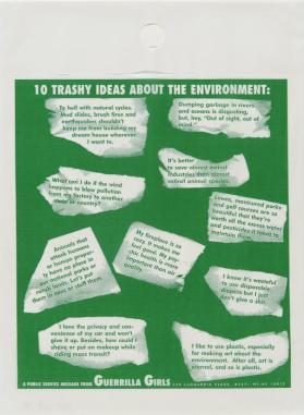 10 Trashy Ideas about the Environment from the portfolio: Guerrilla Girls' Most Wanted: 1985–2008