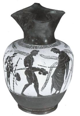 Black-figure white-ground oinochoe