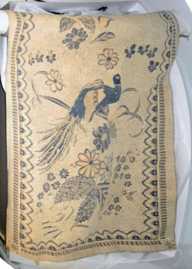 Batik runner, green floral and birds of Paradise.