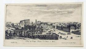 View of the Campo Vacine and the Coliseum in Rome (the Roman forum)