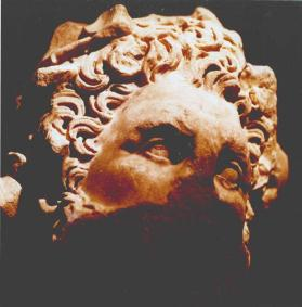 Monumental head of a god or ruler