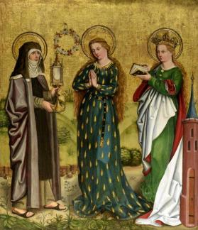 Three Standing Female Saints: Clare, the Virgin Mary, and Barbara