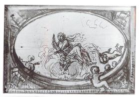 Obverse: Motif for a ceiling project with allegorical figure of abundance holding a cornucopia upwards, with putti Reverse: Motif for a ceiling project with allegorical figure of abundance holding  a cornucopia downwards, with putti