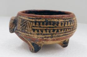 Animal Head Effigy Footed Bowl