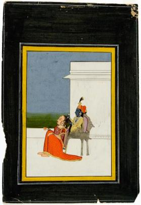 Untitled (Krishna seated on a throne, combing a woman's hair)