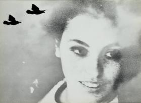 Photomontage of woman and two pigeons
