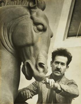 Portrait of Leo Friedlander with Horse sculpture