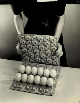 Advertisement: Model's Hands Holding Egg Carton