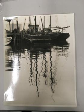 Reflection of ship masts in water