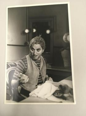 Charlie Chaplin as clown in dressing room on the set of Limelight