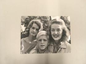Bette Davis Fights for a Place in the Sun. Bette Davis with her daughter Barbara, and her adopted son Michael