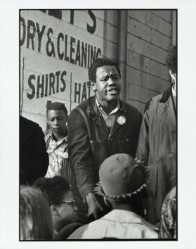 "Willie Ricks was one of SNCC's great stump speakers, capable of getting great emotional responses from a crowd. During the Meredith March in Mississippi, where King and Stokely Carmichael marched side by side, it was Ricks who first unleashed the ""Black Power"" cry.  Here he speaks in Atlanta"