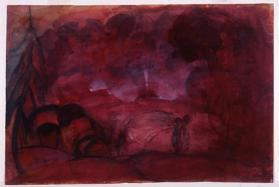 Red Landscape with Figure