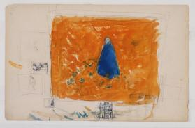 Figure in Blue Cape on Orange Background (verso: Kneeling Figure by Water)
