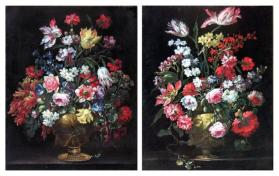 Roses, Tulips, Narcissi, Carnations and Other Flowers in a Gilt Bronze Urn; Tulips, Carnations, Morning Glory, Roses, and Other Flowers in a Gilt Bronze Urn