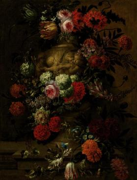 Flowers in a Terracotta Vase on a Stone Ledge