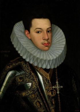 Portrait of Prince Felipe Emmanuele (1586–1605) of Savoy, half length, wearing the badges and orders of the Annunziata and Saints Mauricius and Lazarus