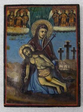 Icon of Pieta with Virgin of Sorrows (The Virgin and Christ, Golgotha in the Background, and Angels Above)