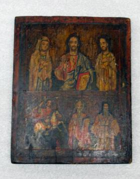 Icon in Two Registers Depicting Christ Flanked by the Virgin and Saint John (upper); and Saint Michael and Two Saints (lower)