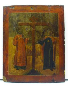 Icon of Emperor Constantine and Saint Helena Flanking the Cross