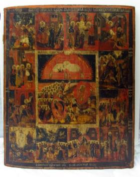Icon of the Christ and Resurrection Flanked by Twelve Scenes from the Life of the Virgin