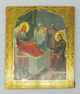Icon of the Nativity of the Virgin with Saint Anne, Saint Joachim and Two Attendants
