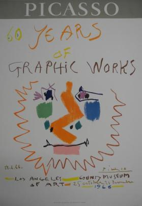 "Poster:  ""60 Years of Graphic Works - - Los Angeles County Museum of Art. 25 October - 24 December 1966"""