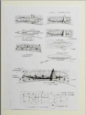Dirigible, University Museum of Arts, Side Elevation and Floor Plan