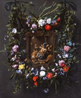 A Garland of Flowers Surrounding a Mocking of Christ