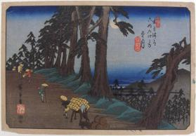 Travelers Passing Mochojuki by Moonlight