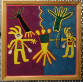 Huichol: Depicting  the Shooting of a Peyote -Coyote with Two Attendant Shamans