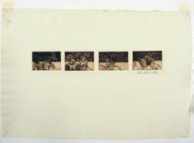 Four miniature etchings, studies for Dante's Inferno (Canto XXXII plate), Portfolio of (1) Prints, (1) drawing, and (1) plate