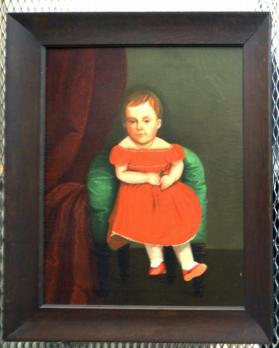 Untitled (portrait of a young child holding a rosebud)